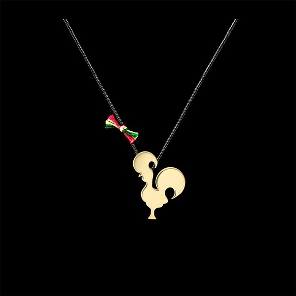 "Cotton necklace ""Barcelos Cock""."