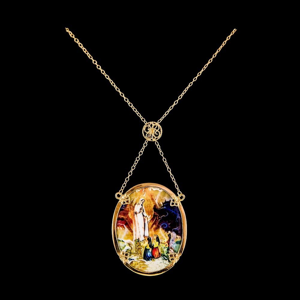 Necklace Lady Fatima, Silver Gold plated,Paint Santiago Belacqua