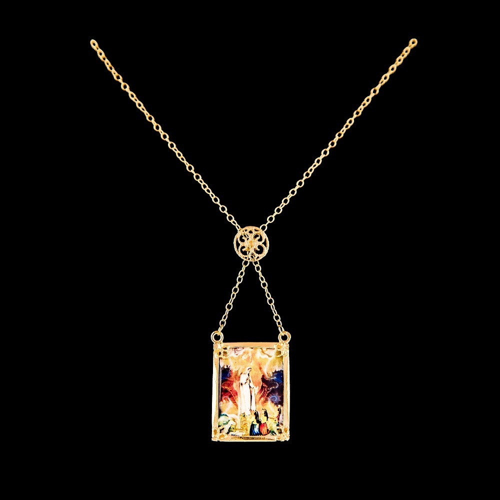 Necklace Scapular Lady Fatima, Silver Gold plated, Paint Santiago Belacqua.