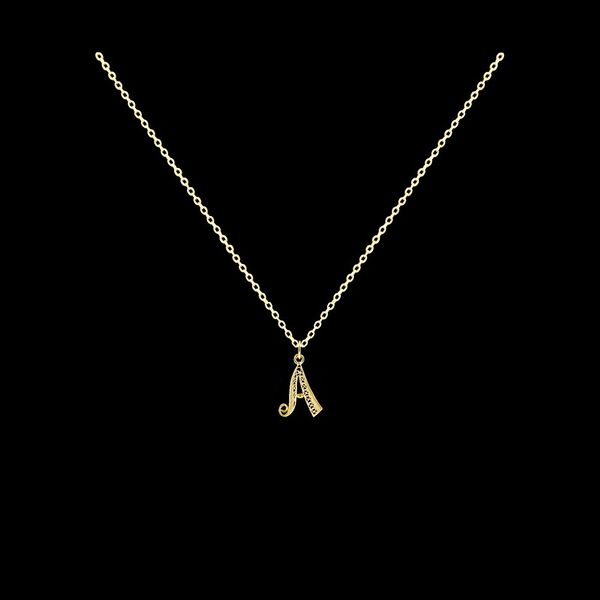 Necklace Letter A silver gold plated