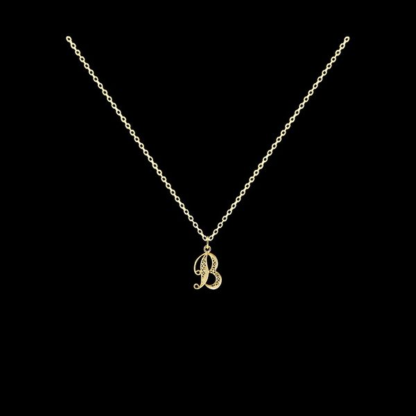 Necklace Letter B silver gold plated