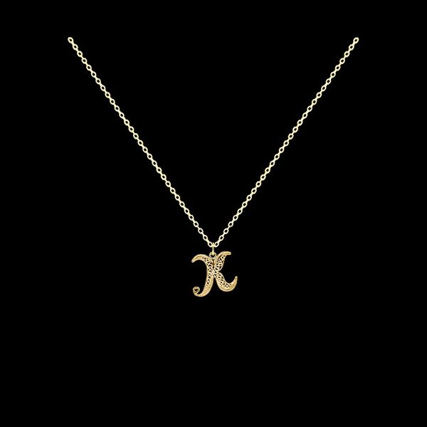 Necklace Letter K silver gold plated