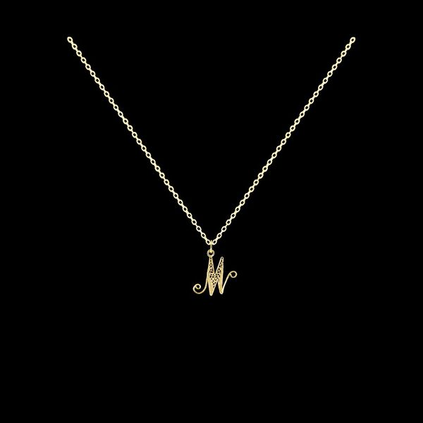 Necklace Letter M silver gold plated