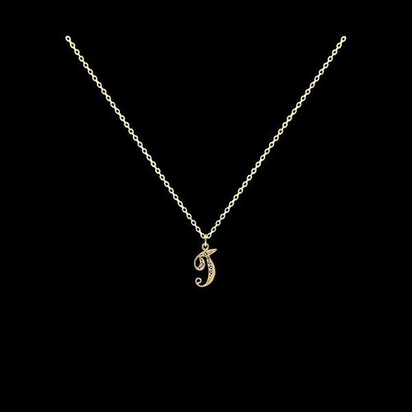Necklace Letter T silver gold plated