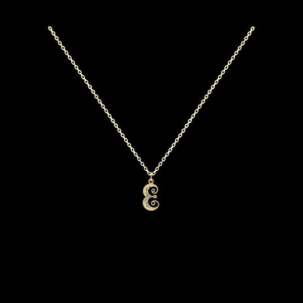 Necklace Letter E silver gold plated