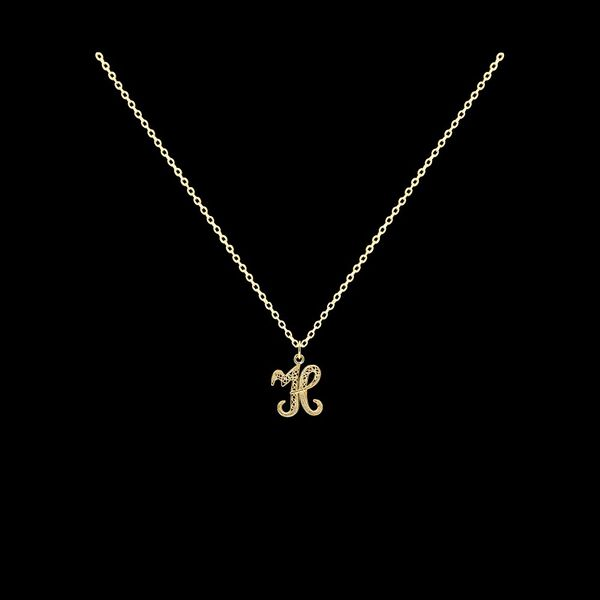 Necklace Letter H silver gold plated