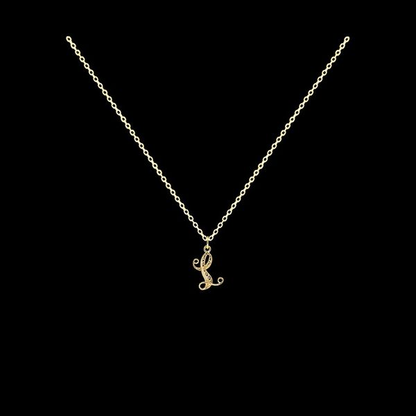 Necklace Letter L silver gold plated