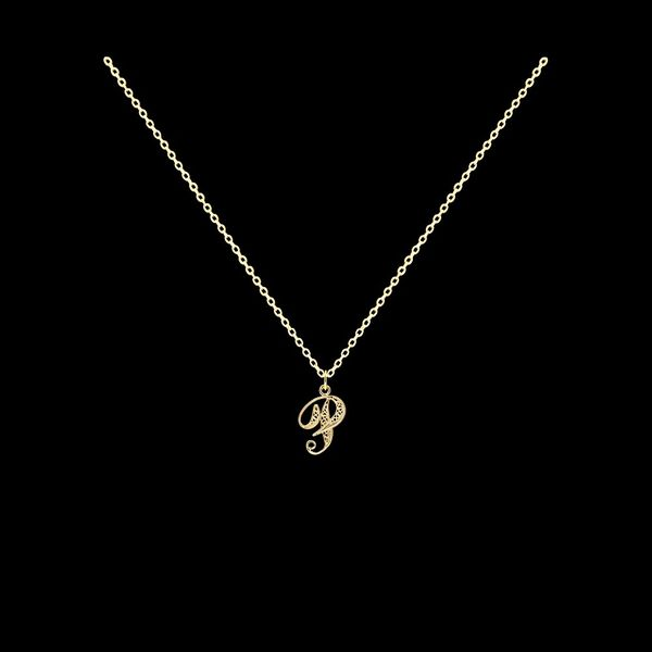 Necklace Letter P silver gold plated