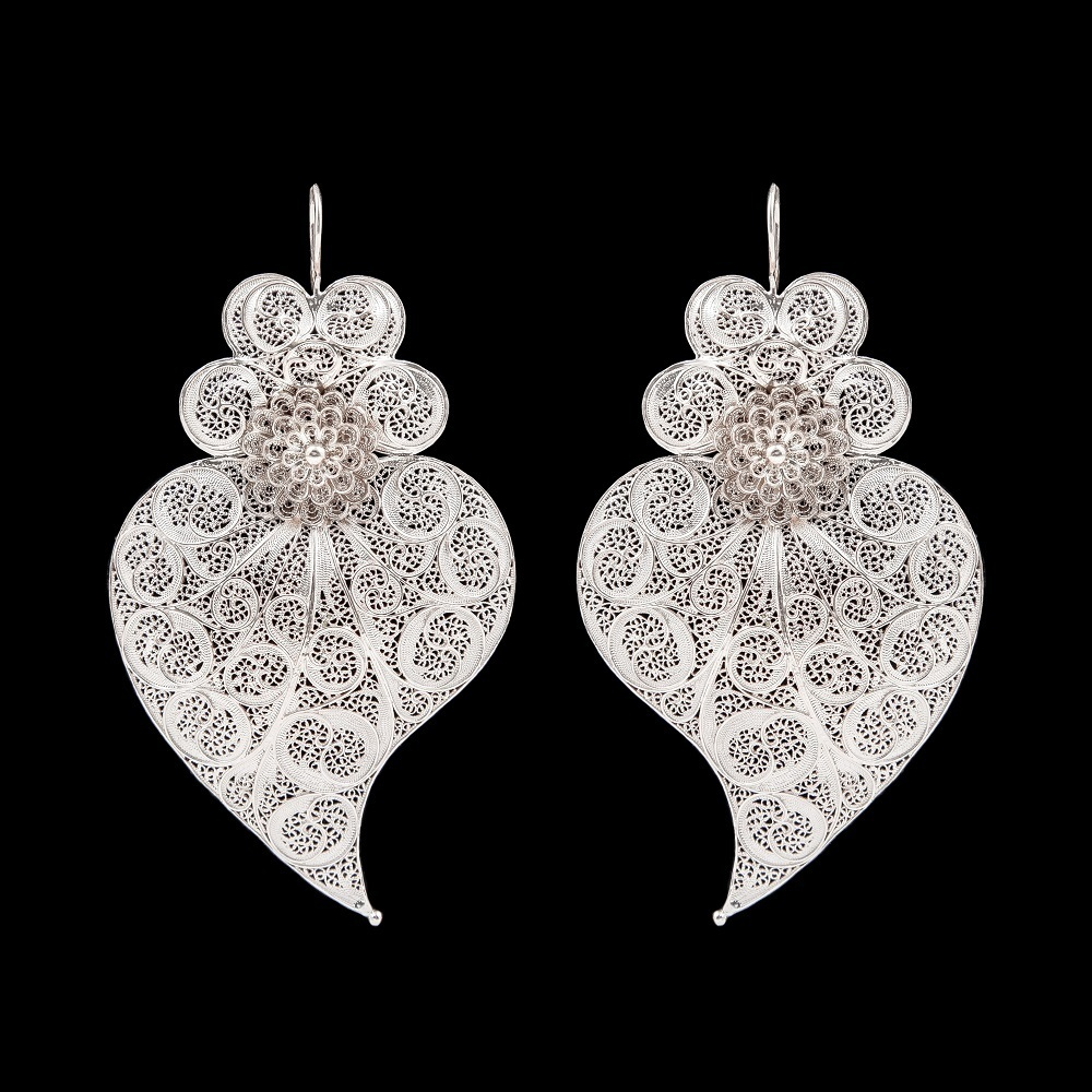 "Earrings ""Viana's Heart"" with 8 cm. Premium Collection."