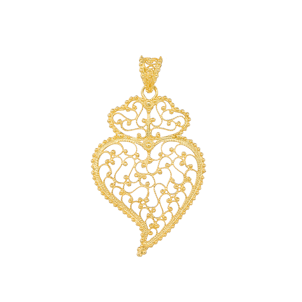 Medal Viana's Heart Portuguese Filigree 4,5cm in Silver Golg plated.
