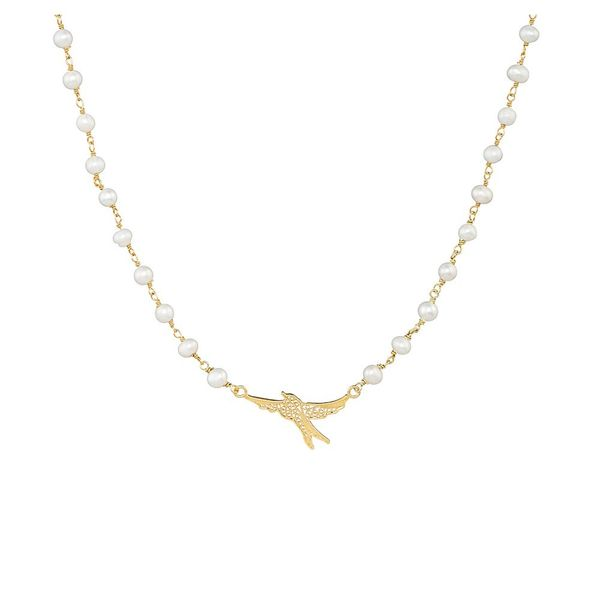 Pearls Necklace, Swallow Filigree, Silver Gold plated