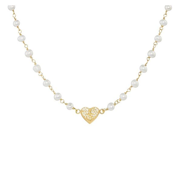 Pearls Necklace, Heart Filigree, Silver Gold plated
