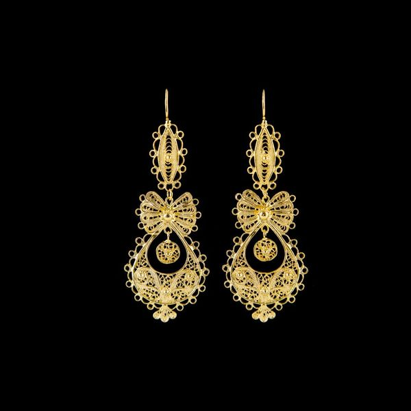 Earrings Princess Portuguese Filigree, 5,5cm, Silver Gold plated.