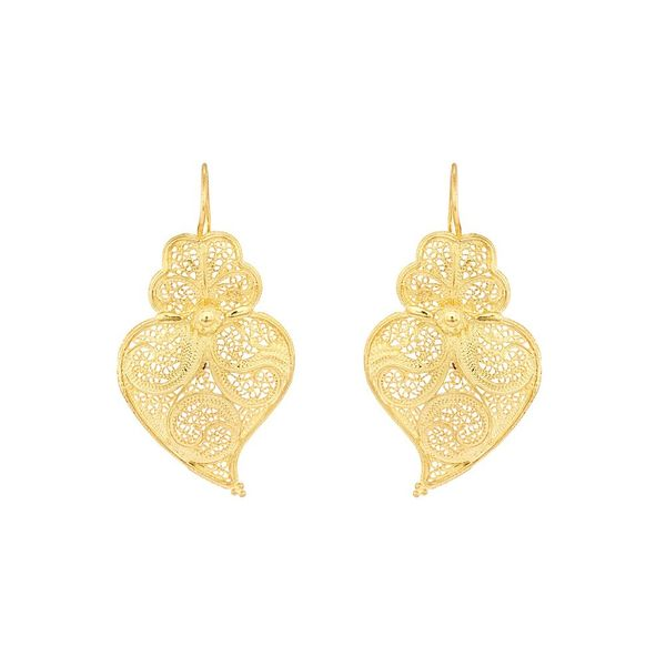 Earrings Viana's Heart Portuguese Filigree, 5cm in Silver Gold plated.