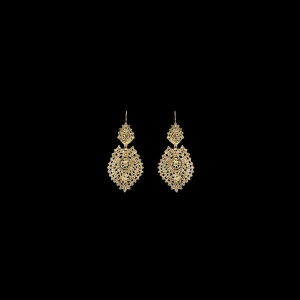 Earrings Queen Portuguese Filigree, 3,5 cm, Silver Gold plated.