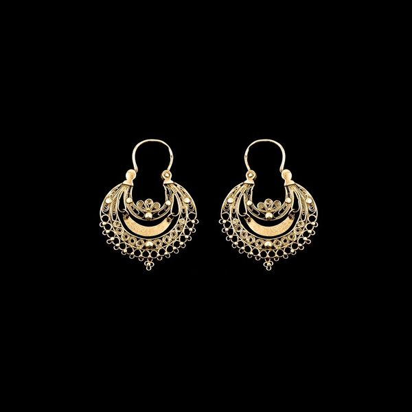 Hoop Earrings Portuguese Filigree, 3,5cm, Silver Gold plated.