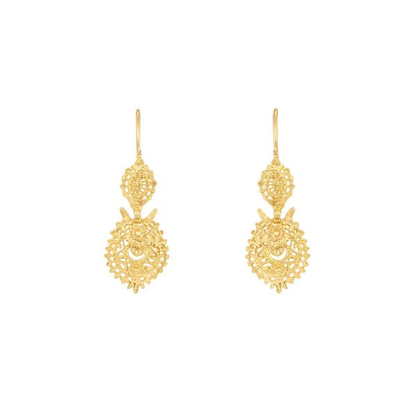 Earrings Queen Portuguese Filigree, 2,5cm, Silver Gold plated.