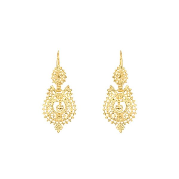 Earrings Queen Portuguese Filigree, 3cm, Silver Gold plated.