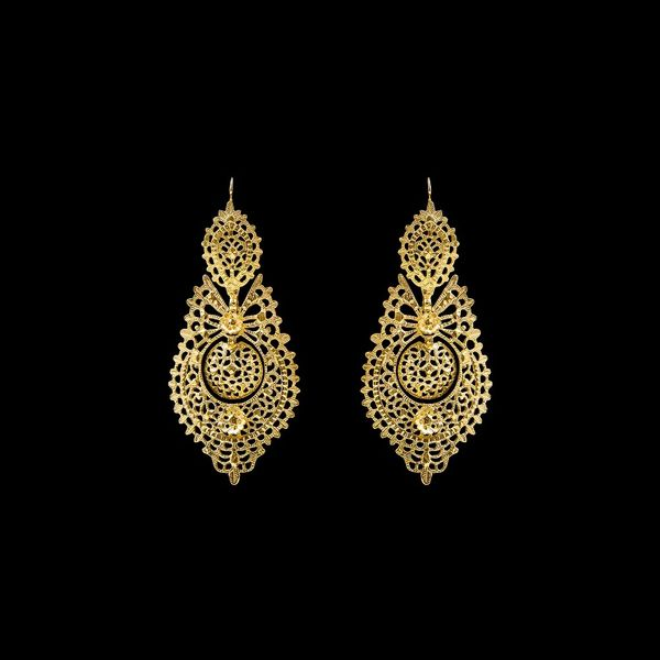 Earrings Queen Portuguese Filigree 7,5 cm. Silver Gold plated.