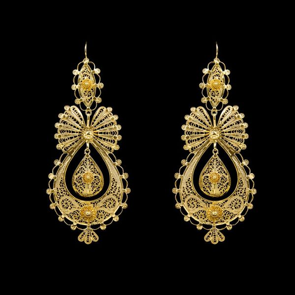 Earrings Princess Portuguese Filigree 8cm. Silver Gold plated.
