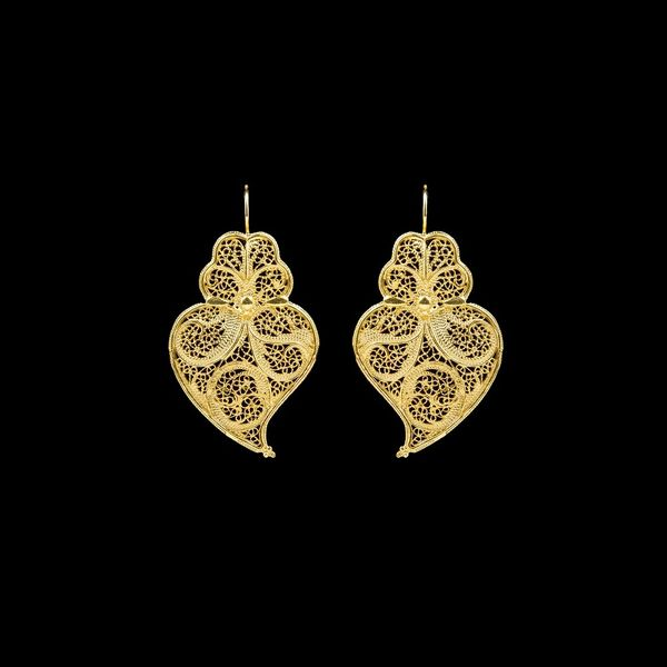 Earrings Viana's Heart Portuguese Filigree 3.5cm in Silver Gold plated.