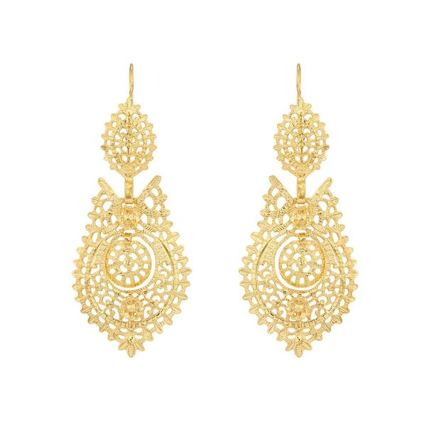 Earrings Queen Portuguese Filigree 6,5 cm. Silver Gold plated.