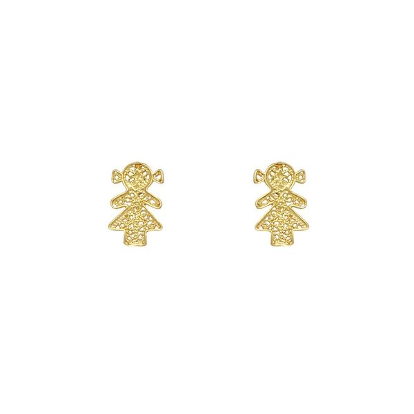 Girl Earrings in Silver Gold Plated