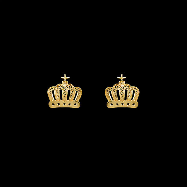 Crown Earrings in Silver Gold Plated