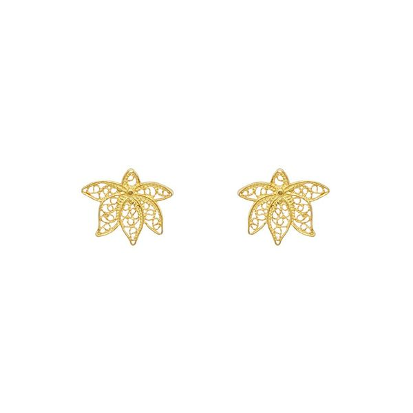 Lotus Flower Earrings in Silver Gold Plated