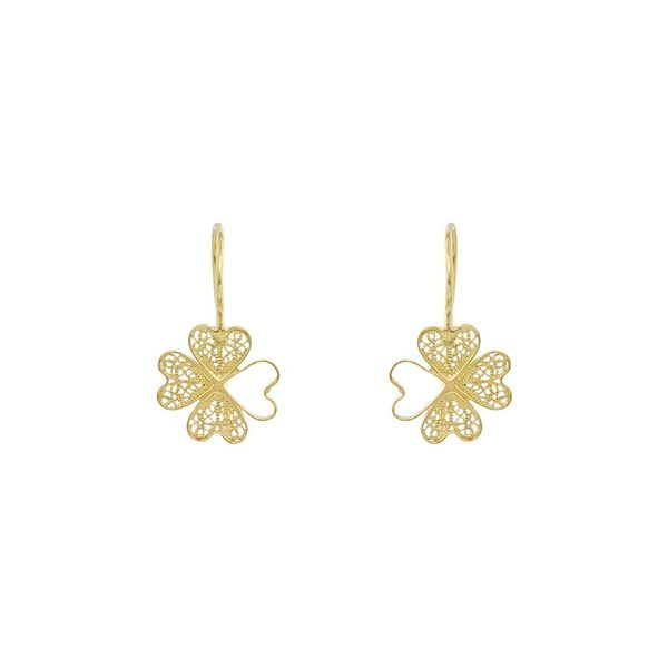 Clover Flower Earrings in Silver Gold Plated