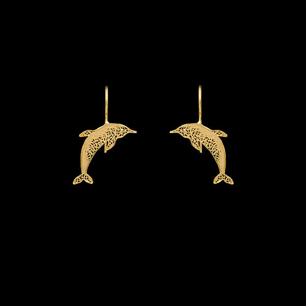 Dolphin Earrings in Silver Gold Plated