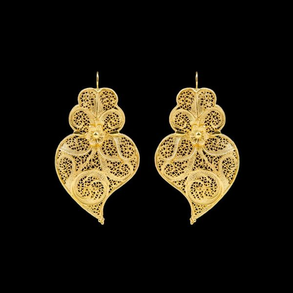 Earrings Viana's Heart Portuguese Filigree 6.5cm in Silver Gold plated.
