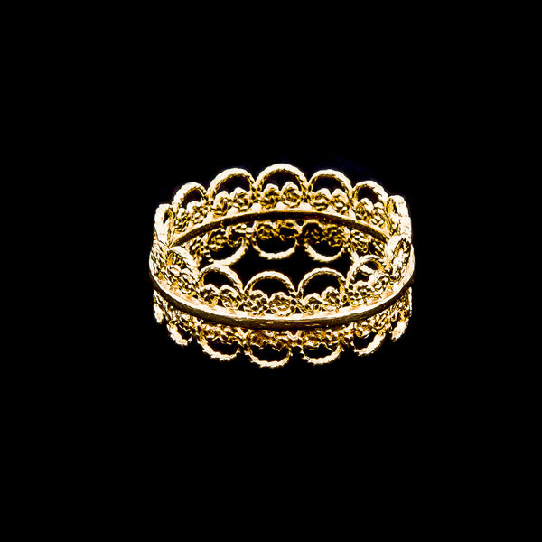 Ring Embroidery Filigree design in Silver Gold plated