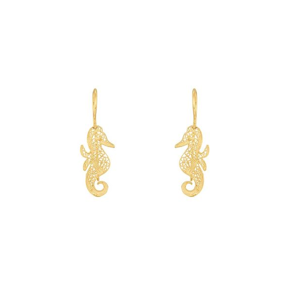 Sea Horse Earrings in Silver Gold Plated