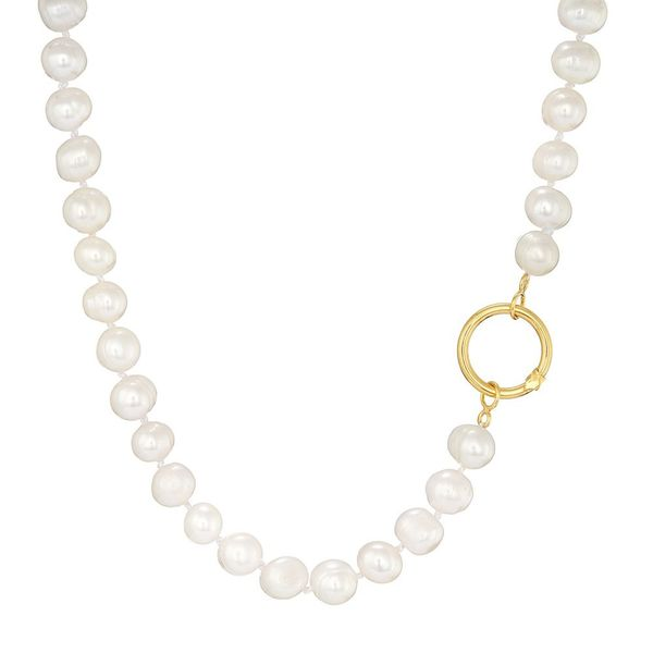 Pearls Necklace with Hoop Clasp, Silver Gold plated