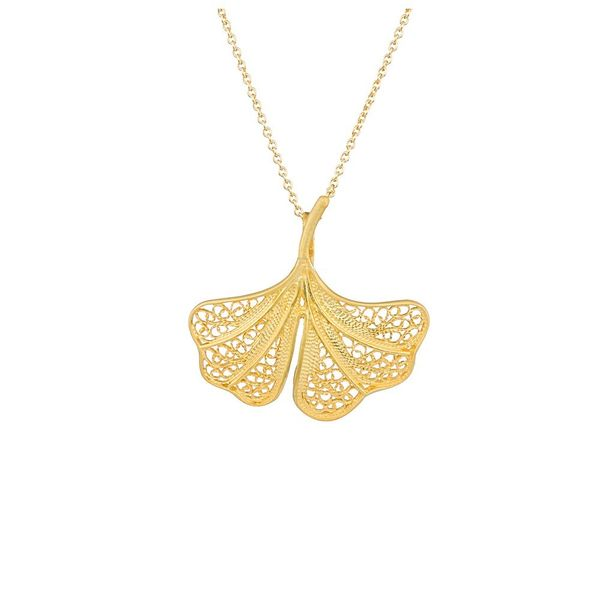 "Necklace ""Ginkgo Biloba"" in Silver Gold plated"