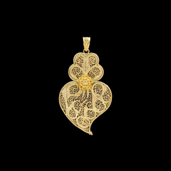 Medal Viana's Heart Portuguese Filigree of 6,5cm in Silver Golg plated