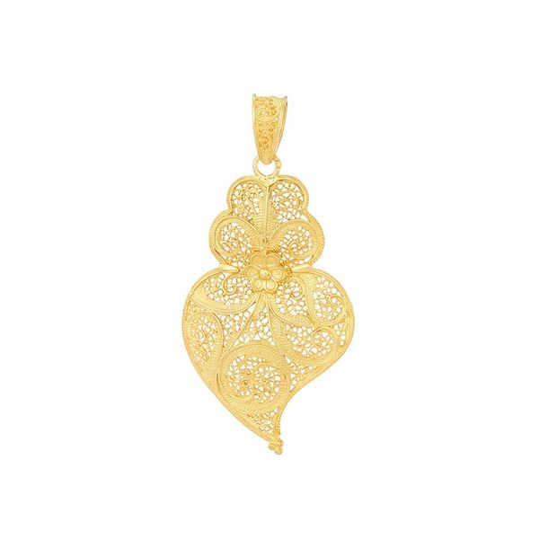 Medal Viana's Heart Portuguese Filigree of 6cm in Silver Golg plated