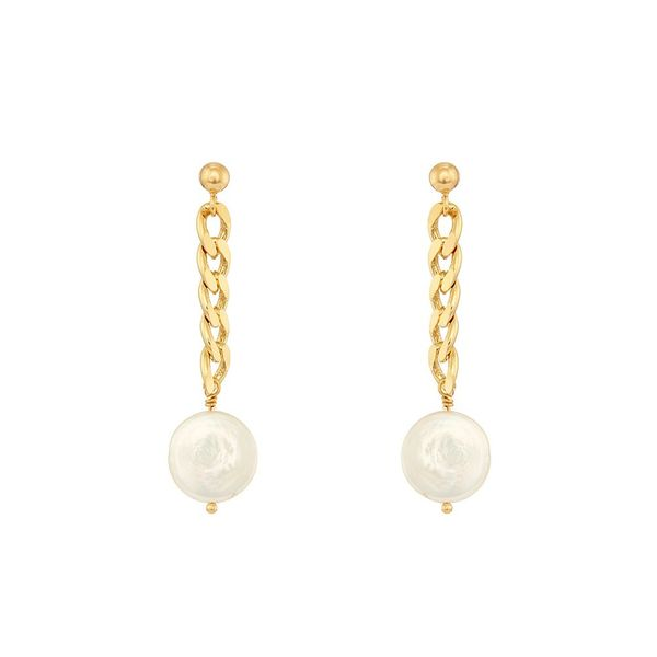 Earrings Curb Chain and Pearls in Silver Gold Plated