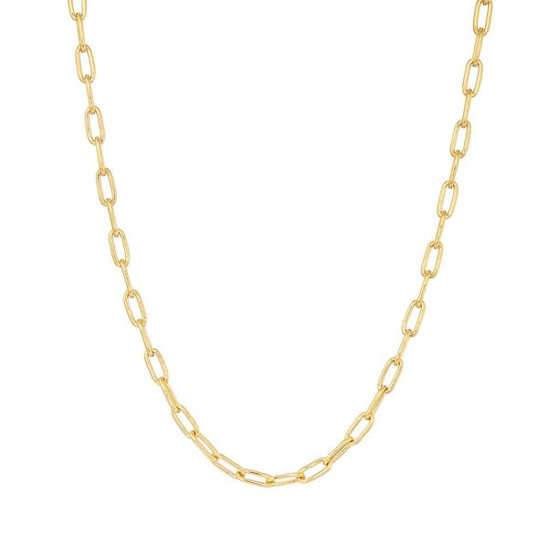 Necklace Silver Gold plated in Long Rolo Chain