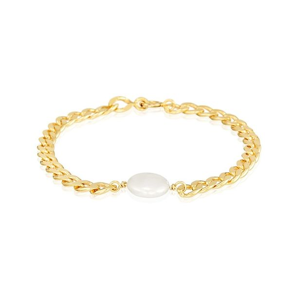 Bracelet Silver Gold Plated in Curb Chain and Pearl