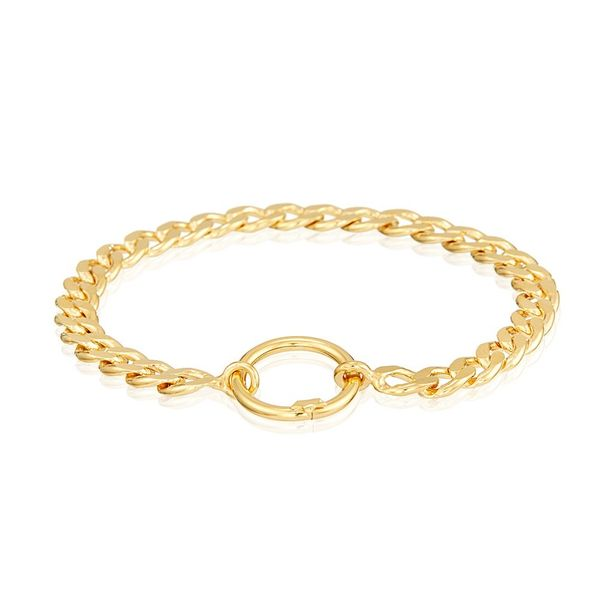 Bracelet Silver Gold Plated in Curb Chain