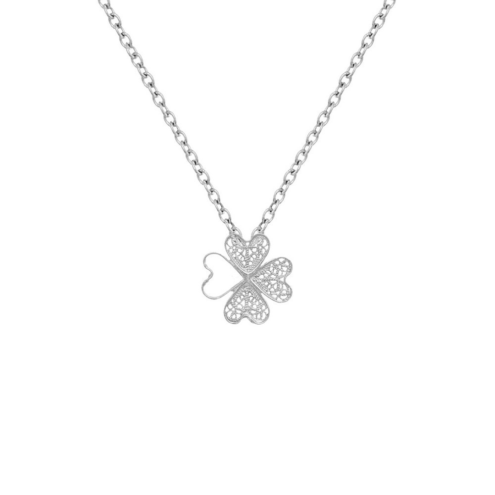 "Necklace ""Filigree Clover"" in Silver"