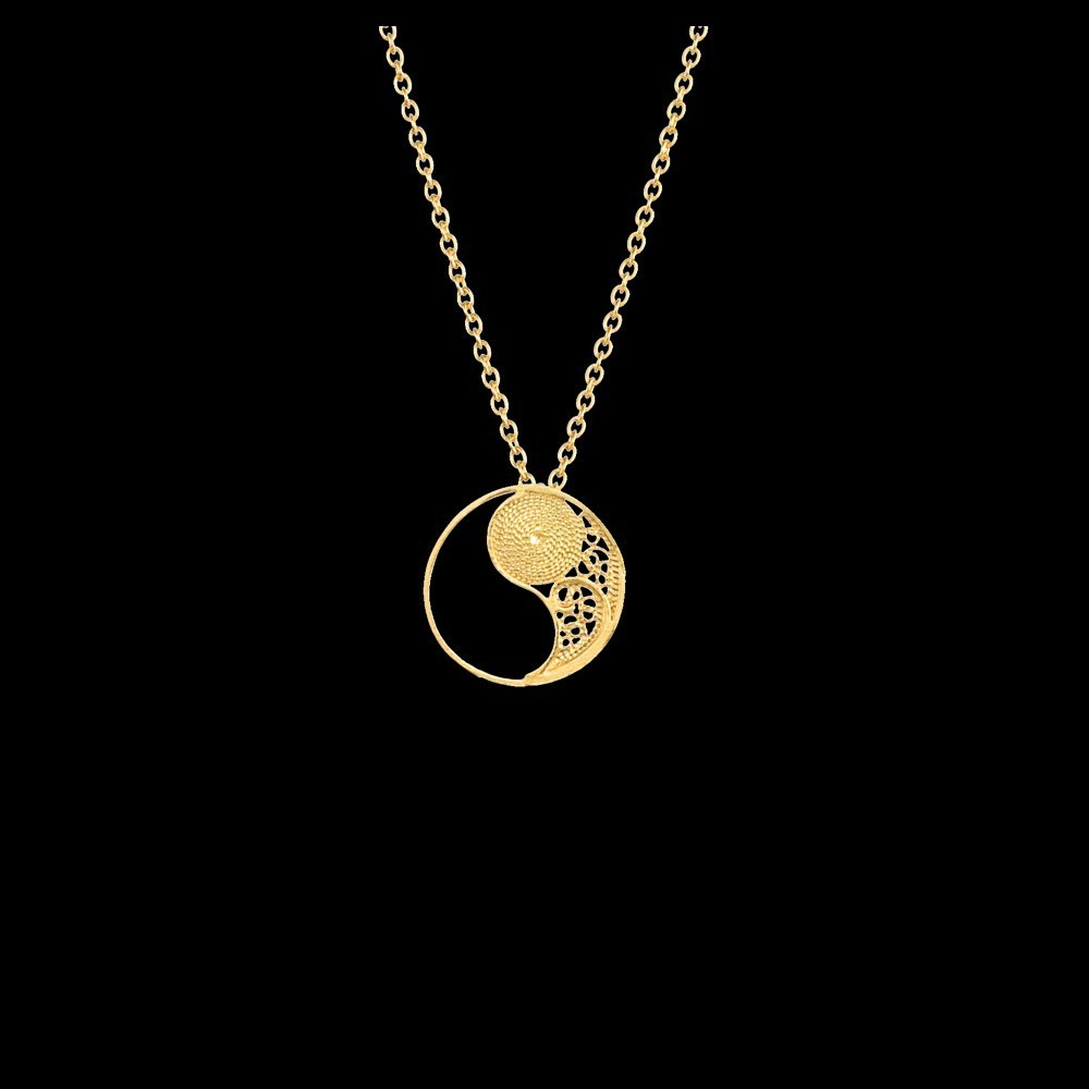 "Necklace ""Filigree Yin Yang"" in Silver Gold plated"