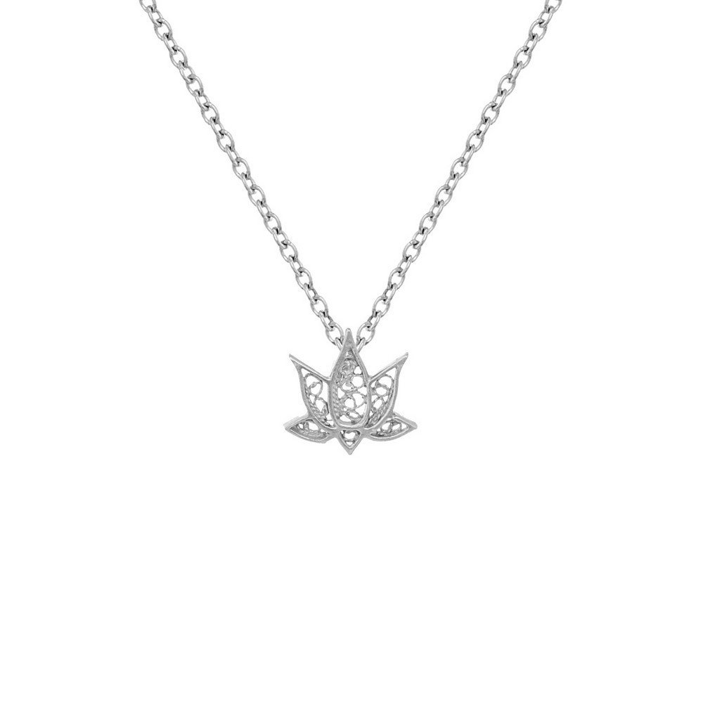 "Necklace ""Filigree Lotus Flower"" in Silver"